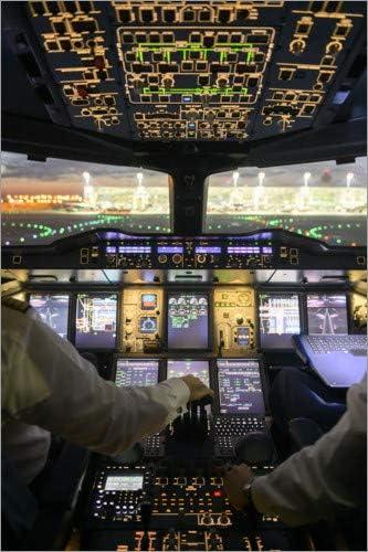 Poster 30 x 20 cm Reproduction Haut de Gamme Airbus A380 Cockpit de Ulrich Beinert Nouveau Poster