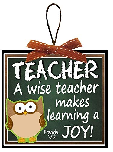 Verses Bible Teachers (Christmas Decoration Teacher Gift A Wise Teacher Teaches with Joy Proverbs Bible Verse Christmas Tree Ornament with Rustic Wire Hanger and Red and White Saddle Stitch Bow)