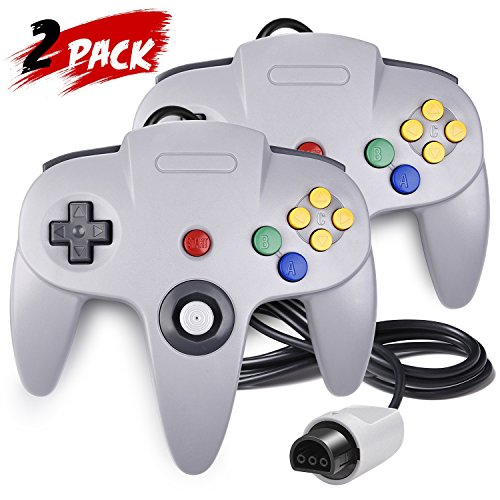 2 Pack N64 Controller, iNNEXT Classic Wired N64 64-bit Gamepad Joystick for Ultra 64 Video Game Console N64 System Mario Kart (Grey) from iNNEXT