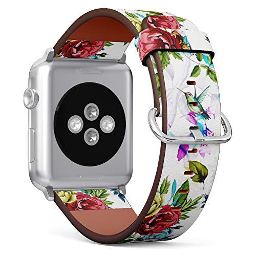 (Floral Pattern with Rose and Hummingbird) Patterned Leather Wristband Strap for Apple Watch Series 4/3/2/1 gen,Replacement for iWatch 42mm / 44mm -