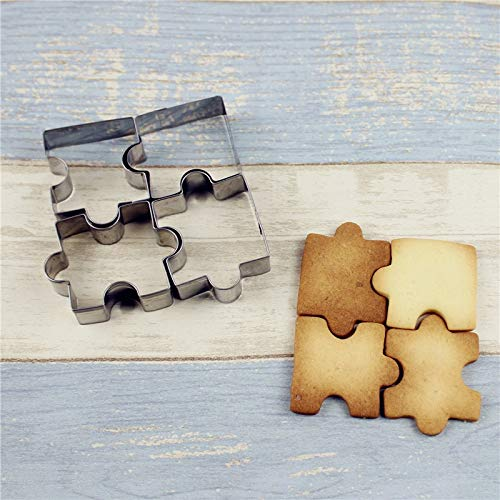 Cookie Cutter - Diy 4pcs Set Biscuit Mould Stainless Steel Puzzle Piece Cookie Cutter Cake Frame Mold Baking Sugar - Gymnastics Dress Kids Onsie Gingerbread Holiday Unicorn Butterfly Mold