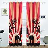 DEYYA Elephants In Africa Curtains Drapes Panels Darkening Blackout Grommet Room Divider for Patio Window Sliding Glass Door 55x84 Inches,2 Panels