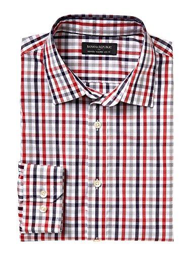 Banana Republic Men's Tailored Slim Fit Non-Iron Red/Blue Check Shirt Small