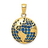 14k Yellow Gold Blue Enameled Globe Pendant Charm Necklace Travel Transportation Fine Jewelry For Women Gift Set