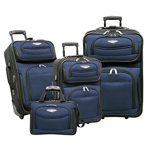Set Luggage 3 Wheeled Piece (Traveler's Choice Amsterdam 4-Piece Luggage Set, Navy)