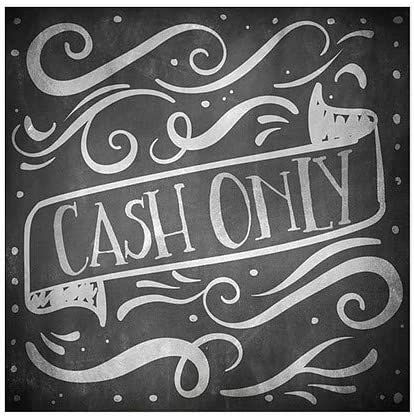 Cash Only 16x16 CGSignLab 5-Pack Chalk Banner Window Cling