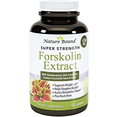 Pure Forskolin Extract - Coleus Forskholli - Doctor Recommended Supplement - Best Natural Weight Loss Product - Supports Metabolism - Appetite Suppressant - USA Made by Nature Bound, 60 capsules