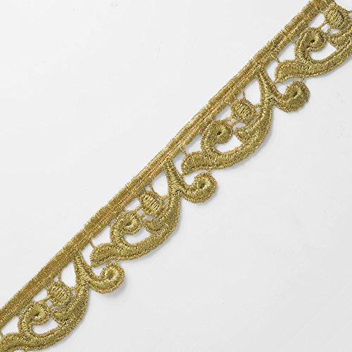 1-1/4 Inch Metallic Gold Lace Trim for Bridal, Costume or Jewelry, Crafts and Sewing by 1 Yard, Gold, TR-11131