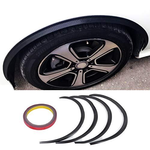 sories Dwcx 4X Car Black Carbon Fiber Wheel Rubber Eyebrow Protector Lip Trim Flare Fender Strip for Vw Golf Mazda Hyundai Chevrolet ()