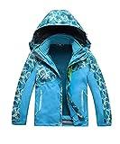 M2C Boys Hooded 3 in 1 Waterproof Fleece Mountain Jacket 7/8 Sky Blue