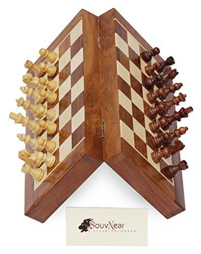 """Deluxe Folding Chess Set - SouvNear Chess Set - 14x14"""" Folding Standard Magnetic Travel Chess Board Game Handmade in Fine Rosewood with Storage for Chessmen"""