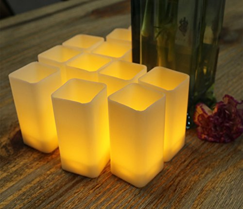 Warm White Flicker Square Led Candles Pillar For