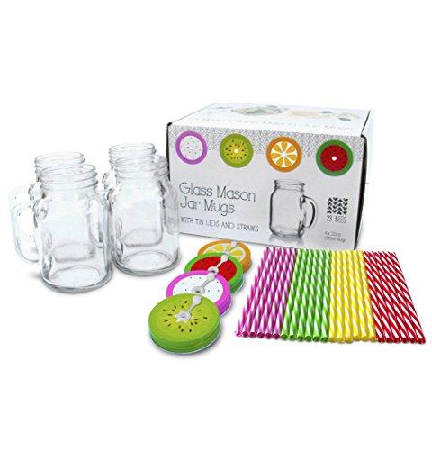 4 x 20oz Mason Jar Mugs with Handles, Lids, Reusable Straws | Fruit Patterned Tin Lids and Straws | Glass Drinking Cup Regular Mouth | BPA Free, Food Grade | Dishwasher Safe | 23 Bees