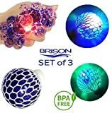 Set-of- 3 Led Anti-Stress Ball - Squishy Light-up Ball - Anti Stress Toys for Kids - Mesh Stress Ball - Grape Ball - DNA Ball - Prime Slime Stress Ball - ADHD Fidget Toys - Net Stress Squishy Ball