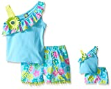 Dollie & Me Girls' Knit One Shoulder Tank with Printed Challis Shorts Set
