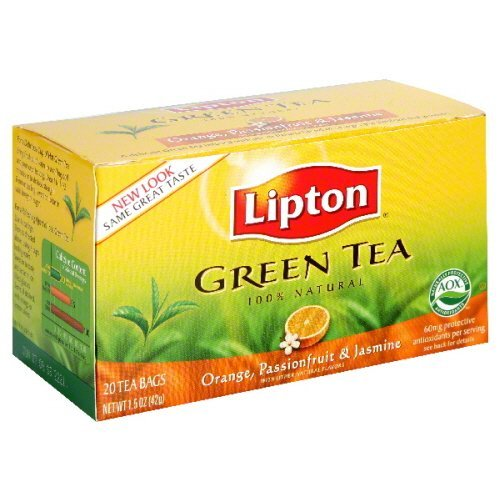 Lipton Orange Passion Fruit and Jasmine Green Tea Bags – Pack of 6