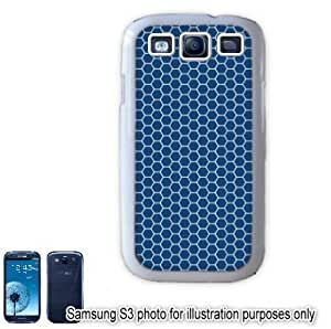 Blue Honeycomb Pattern Samsung Galaxy S3 i9300 Case Cover Skin White
