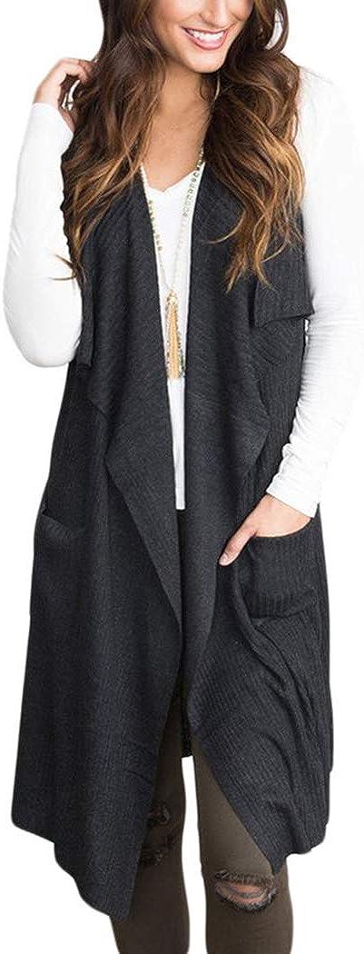 HANMAX Tricot/é Cardigan de Laine Mi-Longue Femme Gilet Femme Veste Longue sans Manches Manteau Pull dhiver Automne