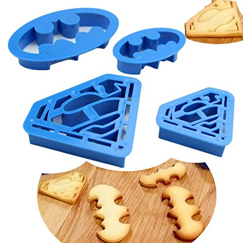 Anyana 4pcs set Super Hero Batman Superman cartoon Cookie Cutter pastry stamp biscuit mold Sugarcraft Cake Decoration