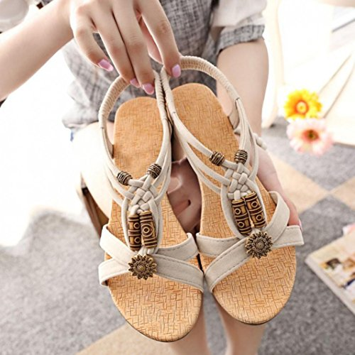 Damen Sandalen, Dasongff Damen Römersandalen Casual Peep-Toe Flache Schnalle Schuhe Römischen Sommer Sandalen Freizeitschuhe Strand Schuhe Stilvoll Beige