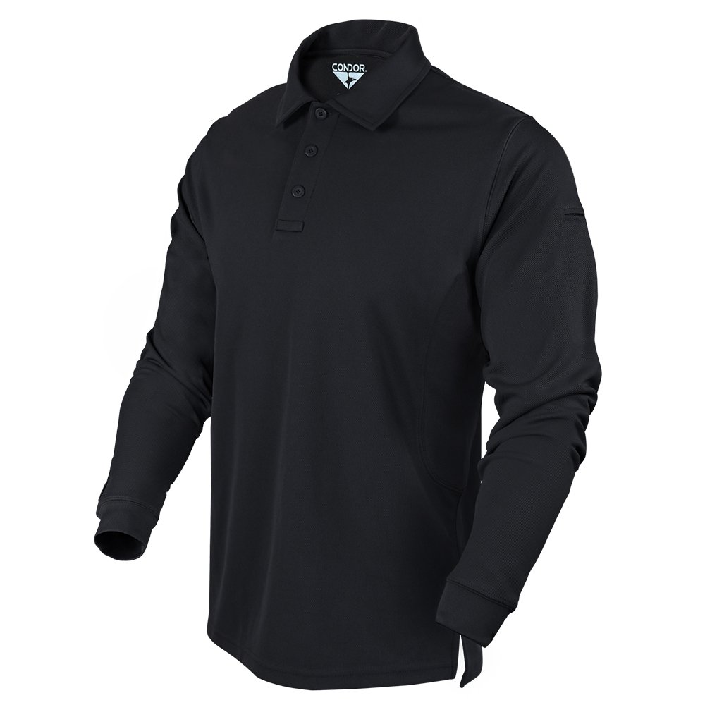 Condor Outdoor Performance Long Sleeve Tactical Polo Shirt (Medium, Black)