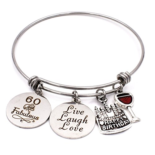 Stainless Steel 60th Biethday Bracelet Expandable Bangle 60 & Famulous Charms Jewelry Gifts for (60's Women)