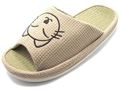 KNPS016T-Tatami Arch Footbed Thick Sole House Slippers with Cat/L(9-10),BEIGE