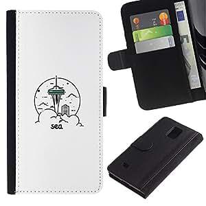 YiPhone /// Tirón de la caja Cartera de cuero con ranuras para tarjetas - Sea & City - Samsung Galaxy Note 4 IV