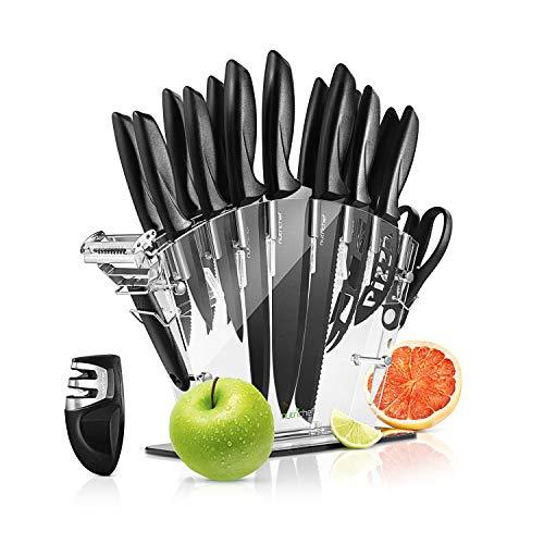 17 Piece Kitchen Knife Set – Stainless Steel Kitchen Precision Knives Set w/ 6 Steak Knives & Bonus Sharpener, Scissors…