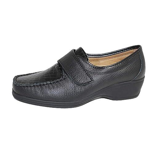 Mocasín Plantilla Extraible Piel Negra 00059 Cari Falcó - con Anchos Especiales: Amazon.es: Zapatos y complementos