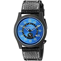 Deep Blue 'Papa Praesto' Automatic Stainless Steel and Black Leather Aviator Watch (Model: ABPPPVDBLUE)