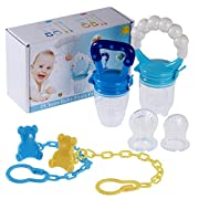 PChero Fresh Food Feeder Pacifier 2 Pack + 2pcs Pacifier Clips and 3pcs Free Food Grade Silicone Sucker, Infant Fruit Teething Toy - for Baby 3 Months and Up -[Boy Color]