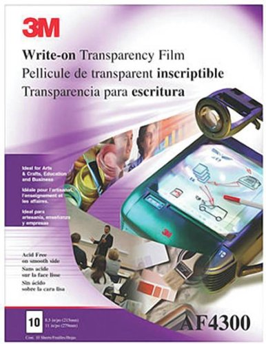 3M AF4300 Write-On Overhead Projector Transparency Film, Letter Size, Clear (Box of 100) ()