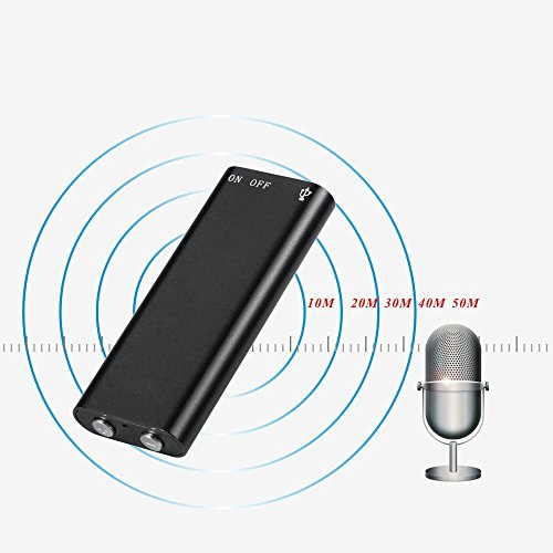 Mini USB Voice Recorder,Digital Audio Voice Recorder with MP3, Sound Recorder Dictaphone,HD Noise Cancelling, 8GB Memory by WJLING (Black)