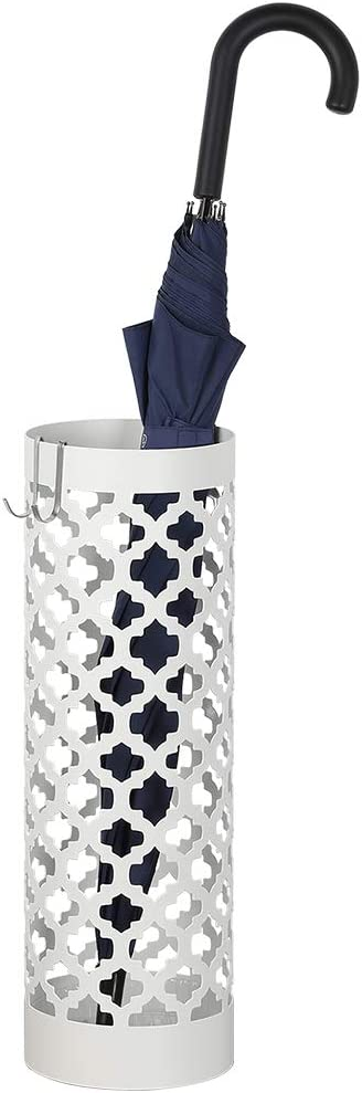 NEX Umbrella Stand Rack Metal Umbrella Holder For Home Office Decoration With Drip Tray and 2 Hook, White
