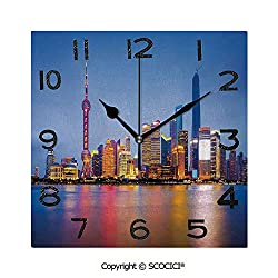 SCOCICI 8 inch Square Clock City Skyline of Shanghai China On Huangpu River Dusk Famous Travel Destination Unique Wall Clock-for Living Room, Bedroom or Kitchen Use