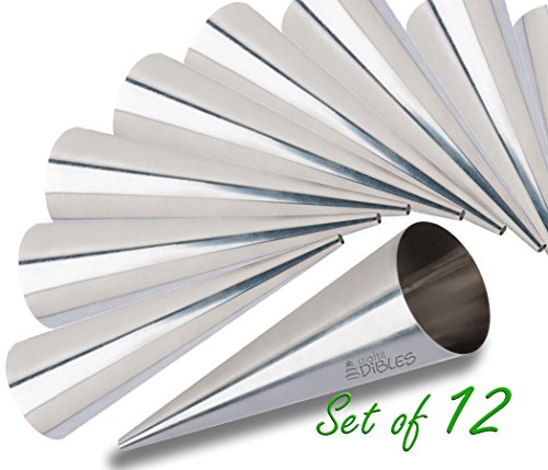 Lady lock forms by CiE Set of 12 Stainless Steel Pastry, Cream Horn Molds. Free Standing Cone Shape