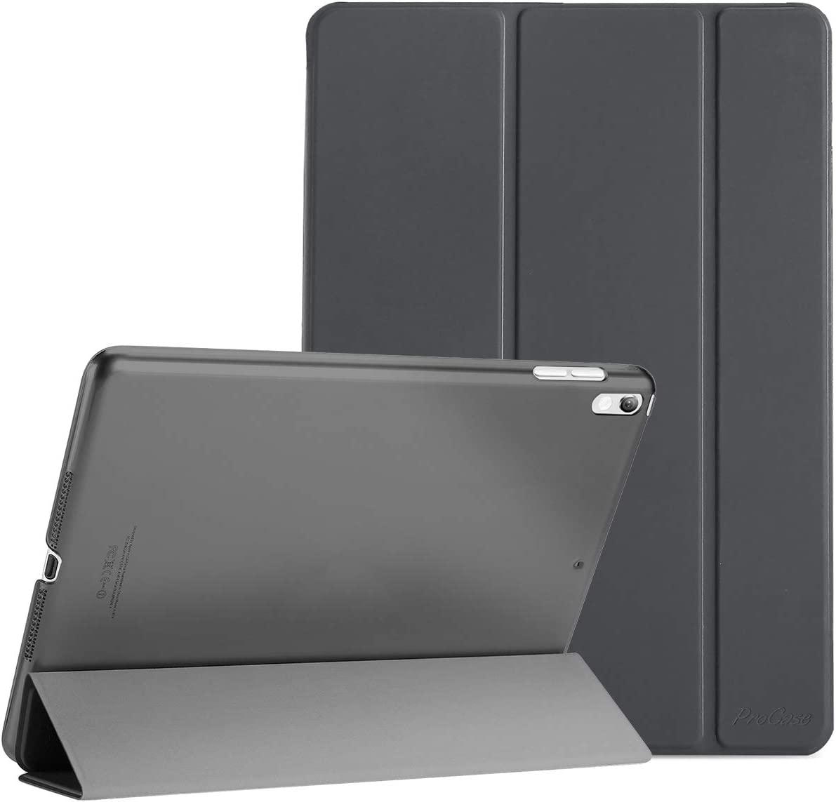 "ProCase iPad Air (3rd Gen) 10.5"" 2019 / iPad Pro 10.5"" 2017 Case, Ultra Slim Lightweight Stand Smart Case Shell with Translucent Frosted Back Cover for Apple iPad Air (3rd Gen) 10.5"" 2019 –Space Gray"