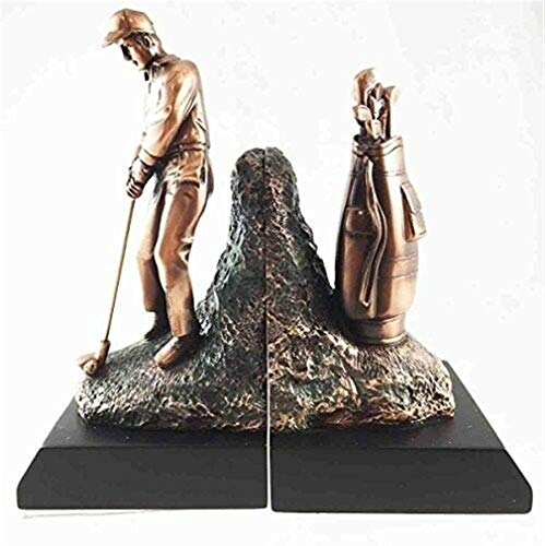 Ky & Co YesKela Professional Golfer with Golf Caddy Bag Bookends Bronze Electroplated Figurine