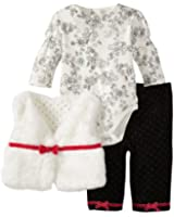 Little Me Baby-girls Newborn Rose 3 Piece Vest Set