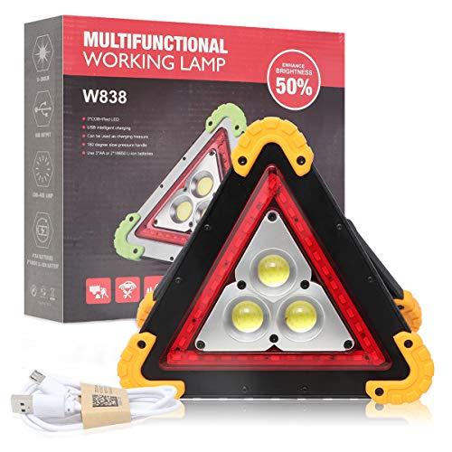 OurLeeme Led-waarschuwingslicht, gevarendriehoek, waterdicht, driehoek-noodlamp, 4 modi, 30 W, witte schijnwerper voor…