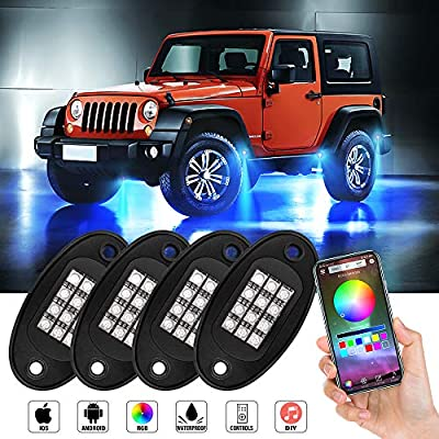 RGB LED Rock Lights With Bluetooth Controller Underglow Light Phone App/Remote Control Timing Flashing Music Multicolor Neon LED Light IP67 Waterproof for Cars Jeep Off Road Truck SUV ATV (4 Pods): Automotive