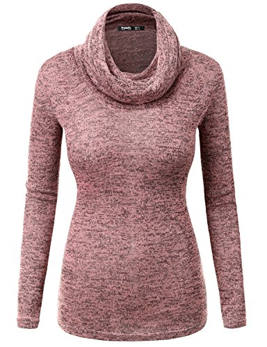 Thanth Womens Black Roll Neck Jumper Black Turtleneck Sweater Pink L
