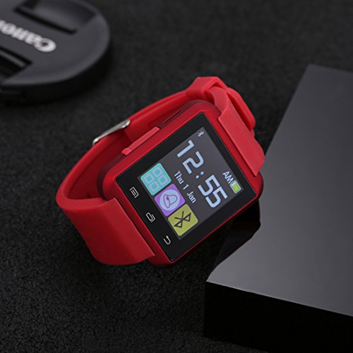 OGYA U8-T Bluetooth 4.0 Smart Watch Phone for Smartphones IOS Android Apple iphone 5/5C/5S/6/6 Puls Android Samsung S3/S4/S5 Note 2/Note 3 Note 7 HTC Sony-Red Style (With Free Necklace)