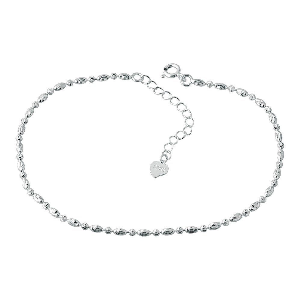 Mel Crouch Bling Cute Beads Chain Anklets 925 Sterling Silver Anklet Holiday Ankle Bracelets