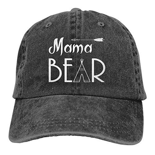 - Unisex Mama Bear Denim Hat Adjustable Washed Dyed Cotton Dad Baseball Caps (Print Logo Black 1, One Size)