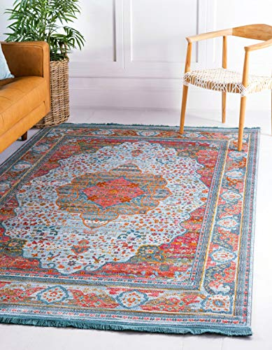 Unique Loom Baracoa Collection Bright Tones Vintage Traditional Light Blue Area Rug 5 5 x 8 0