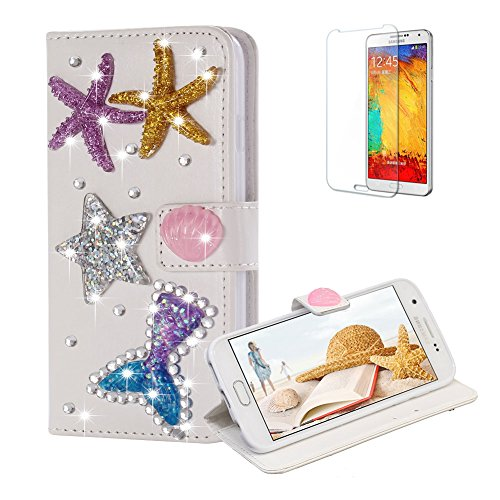 Funyye Diamond Wallet Cover for Samsung Galaxy S7,Luxury 3D Starfish Design Crystals Bling Magnetic Flip Case Kickstand Feature Card Slots Soft Silicone PU Leather Case for Samsung Galaxy S7