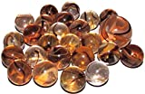 "Unique & Custom {5/8'' Inch} Set of 24 ""Round"" Clear Marbles Made of Glass for Filling Vases, Games & Decor w/ Shiny Light Amber Swirl Design [Clear, Orange & Brown Colors] w/ 1 Shooter"