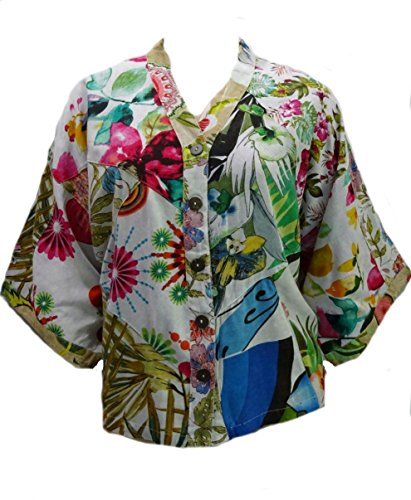 - Sacred Threads Floral Funky Art to Wear Amazing Kimono Top S/M